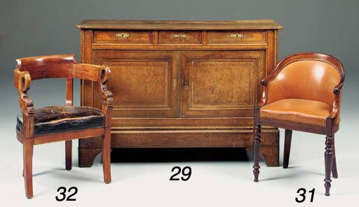A French oak and line inlaid c
