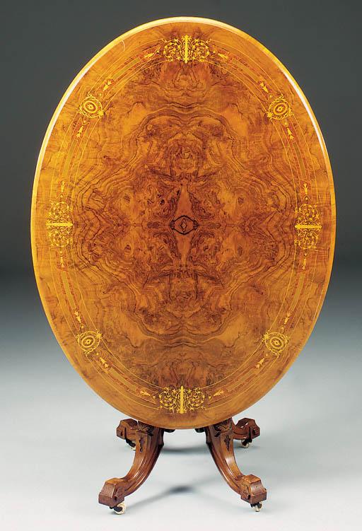 A Victorian walnut amboyna and
