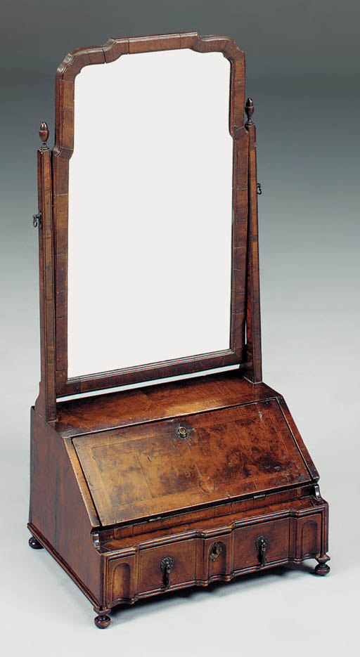A walnut toilet mirror, early