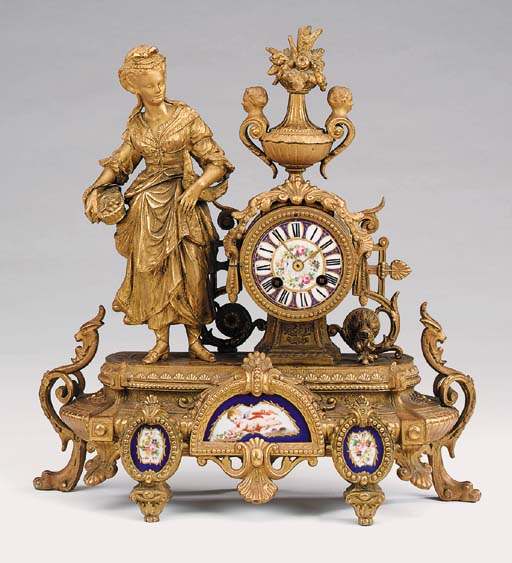 A French gilt spelter and porc