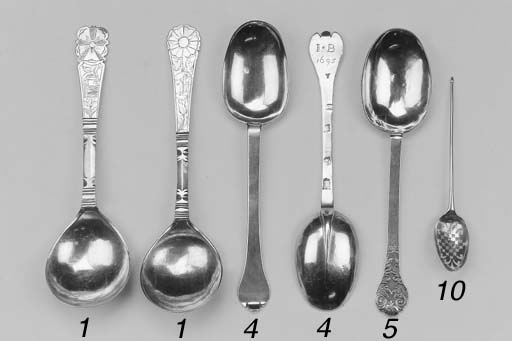 A JAMES II SILVER SPOON AND A