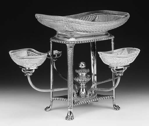 A silver plated epergne