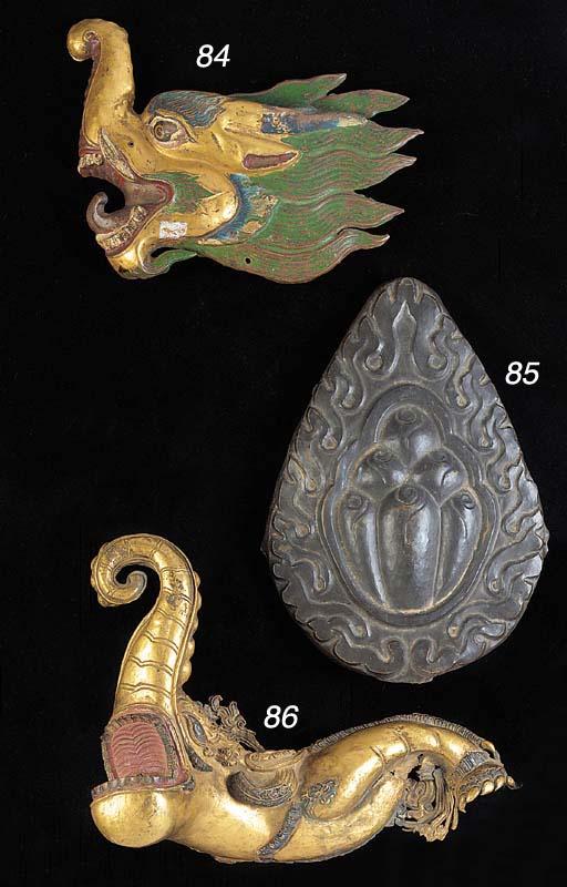 A Tibetan gilt copper mythical