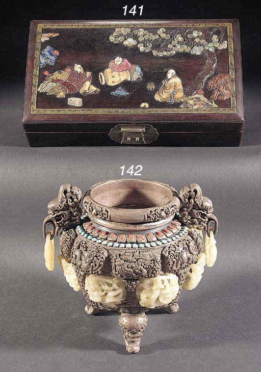A Chinese silver and jade cens