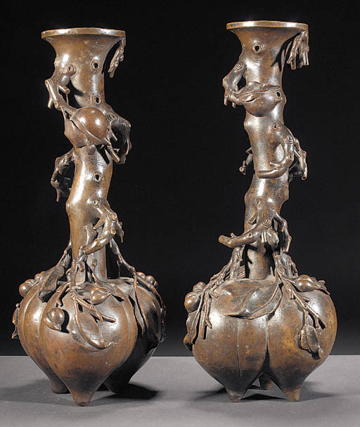 A pair of Chinese bronze vases