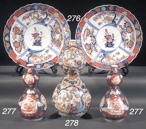 A pair of Imari double gourd v