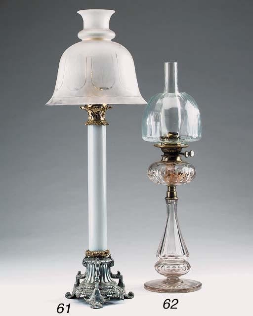 A Victorian cut glass oil lamp