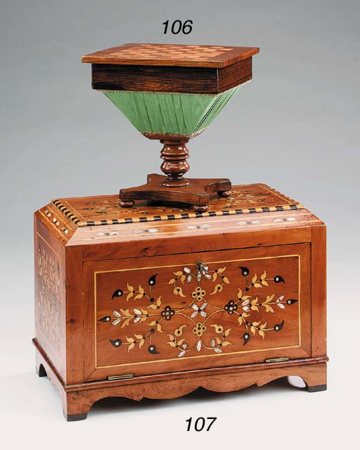 A Victorian rosewood sewing bo