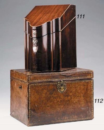 An Italian leather faced box,