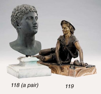 A pair of bronze busts on marb