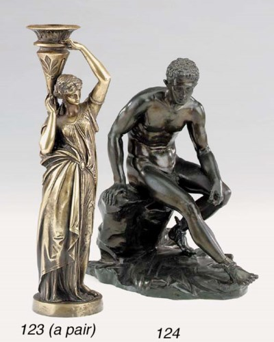 A pair of French bronze figura