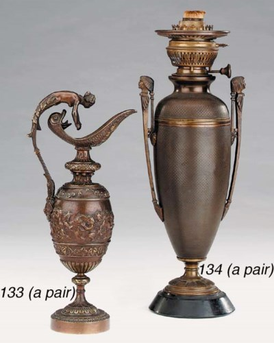 A pair of French bronze regula