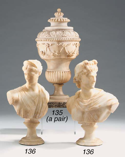 A pair of Italian alabaster bu