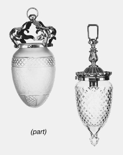 Three various glass and brass
