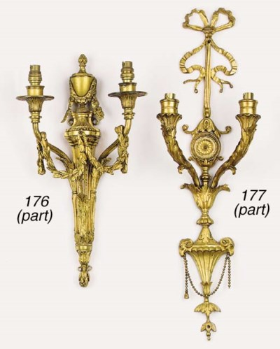 A set of three gilt bronze twi