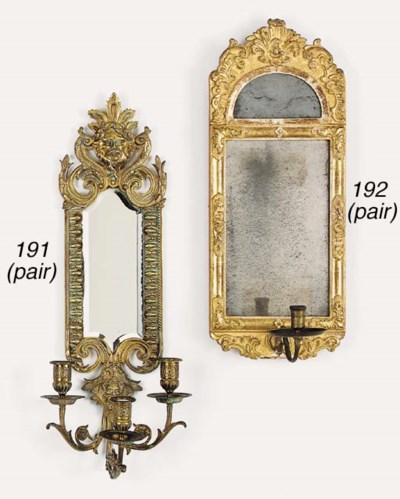 A set of three French giltwood