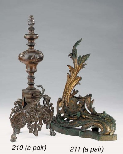 A pair of French brass chenets