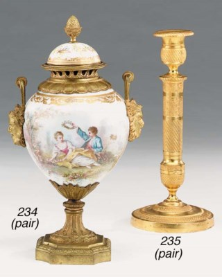 A pair of Sevres porcelain and