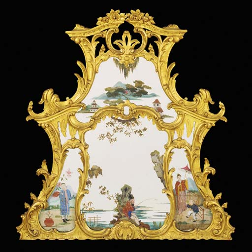 A giltwood and chinoiserie pai