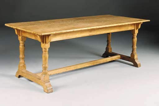 A satin birch refectory table,