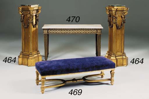 A rectangular giltwood stool,