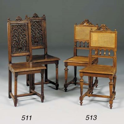 A pair of French Gothic oak ha