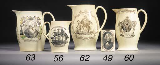 A creamware named oviform jug