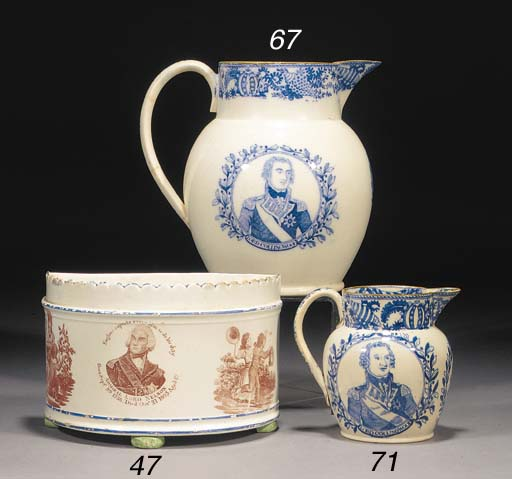 A pearlware blue and white jug
