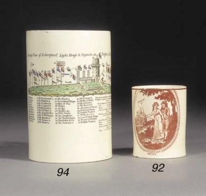 A creamware cylindrical mug