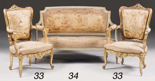 A French giltwood and green pa