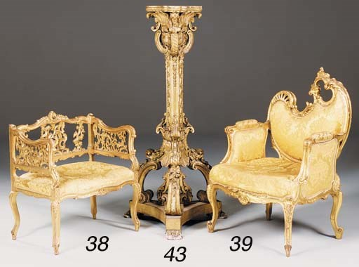 A French giltwood bergere, ear