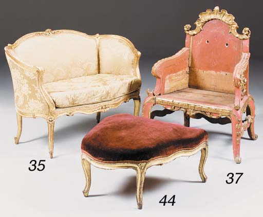 A French giltwood foot stool,