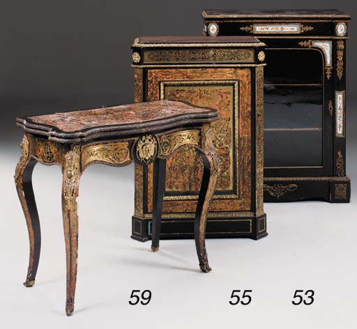 A French ebonised, brass and s