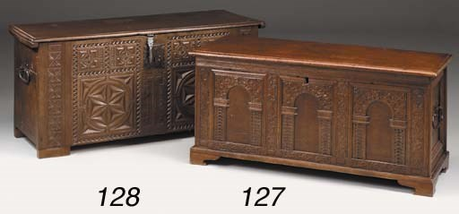 An oak chest, parts 17th centu