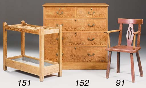 A late Victorian ash and burr