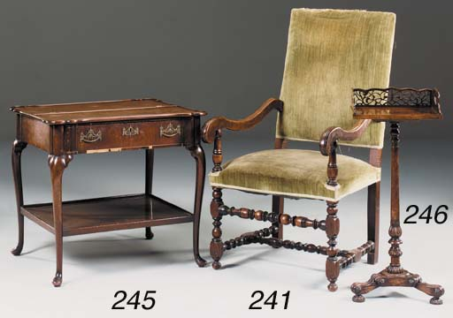 A walnut fauteuil, 19th centur