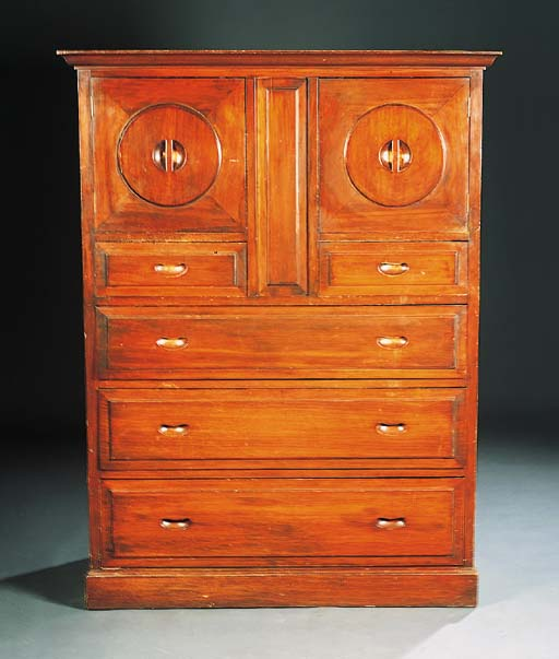 A STAINED POPLAR CABINET ATTRI
