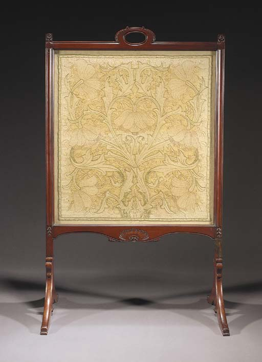 A MAHOGANY AND EMBROIDERY FIRE