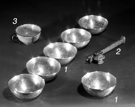 A set of six Egyptian silver b