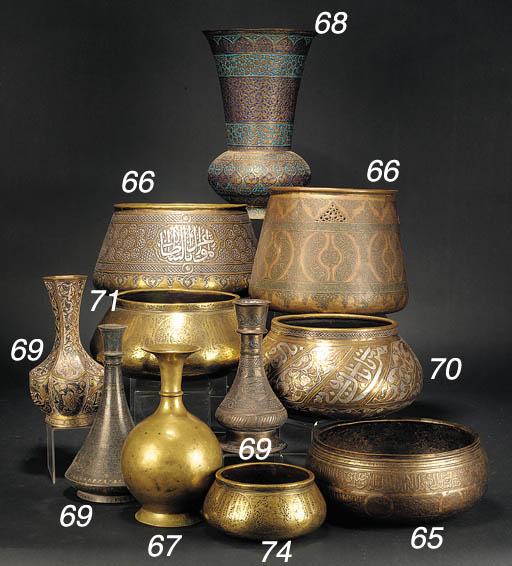 A small fars brass bowl 14th c