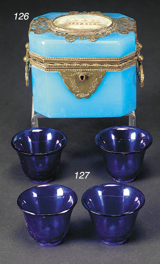 A French blue opaline glass to