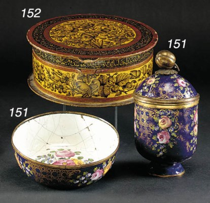 An Ottoman enamel cup and cove