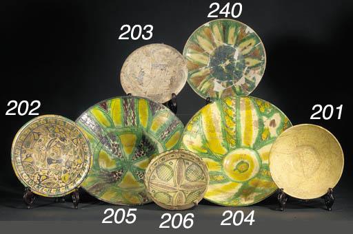 A Nishapur yellow, green, and