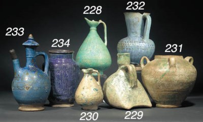 A Kashan blue glazed pottery a