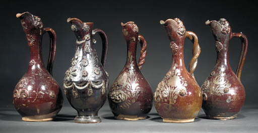 A Channakale brown glazed ewer