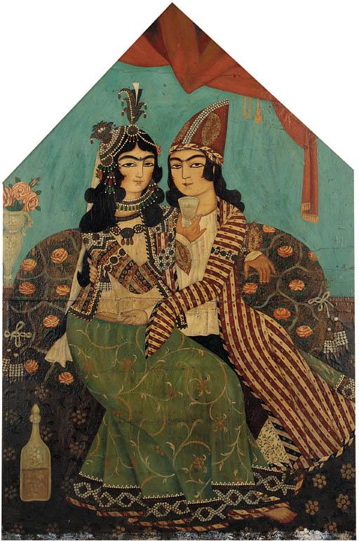 Portrait of lovers Qajar Iran,