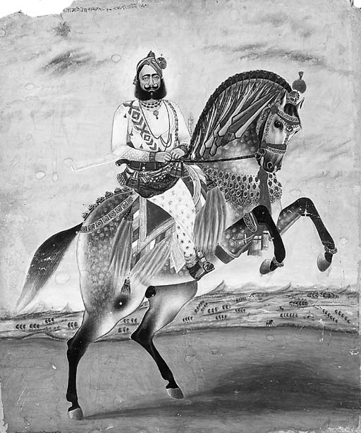 Equestrian portrait of a Sikh