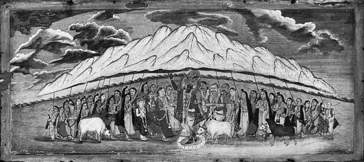 Krishna protecting the Gopis f