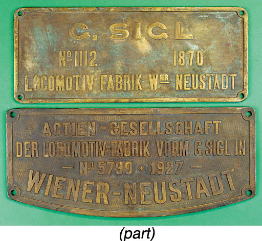 A brass locomotive plate from