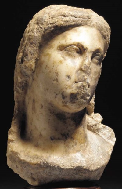 A MARBLE HEAD OF A PTOLEMAIC Q